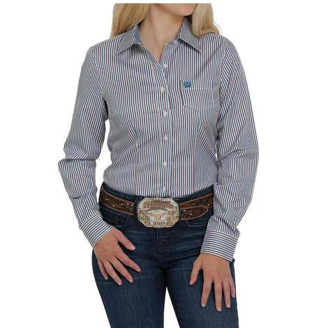 Cinch Blue Pink Stripe Tencel Long Sleeve Buttondown Women's Shirt