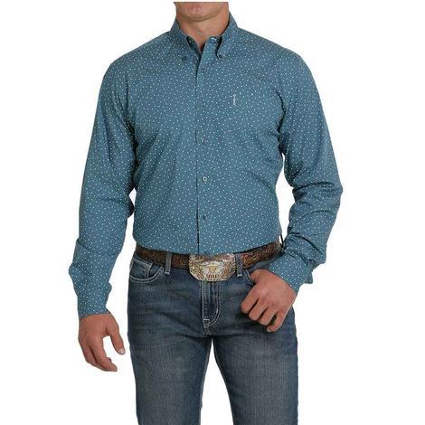 Cinch Modern Fit Teal Print Long Sleeve Buttondown Men's Shirt