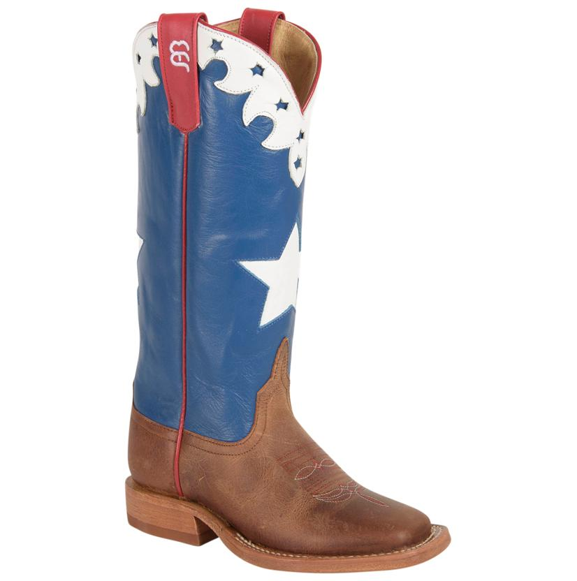 Anderson Bean Kids ' American Blue W/White Star Inlay Boots