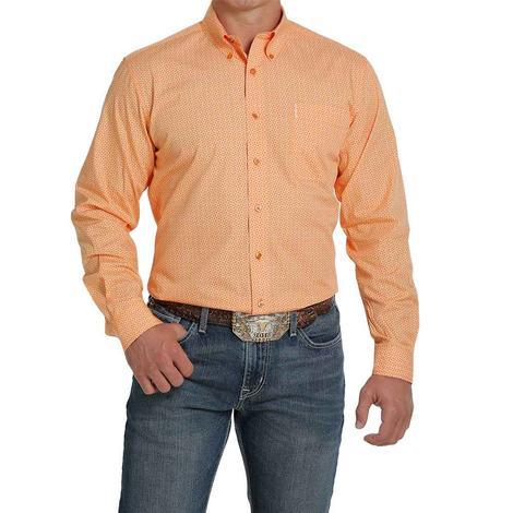Cinch Modern Fit Orange Print Long Sleeve Buttondown Men's Shirt
