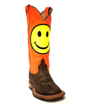 Anderson Bean Kids ' Orange Day Glow Boots W/Smiley Face