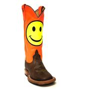 Anderson Bean Kids' Orange Day Glow Boots w/ Smiley Face
