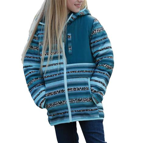 Cruel Girl Turquoise Print Quilted Girl's Jacket