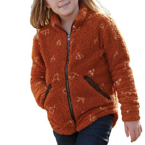 Cruel Girl Orange Print Fleece Girl's Jacket