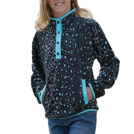 Cruel Girl Black Leopard Print Fleece Girl's Pullover