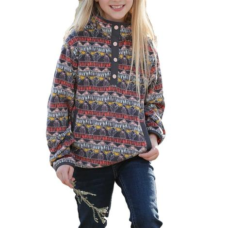 Cruel Girl Multi Print Fleece Girl's Pullover
