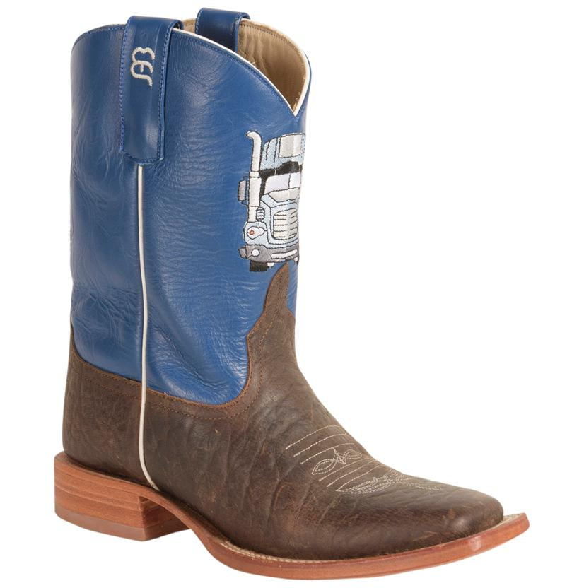 Anderson Bean Kids ' Blue And Brown Semi Truck Boots