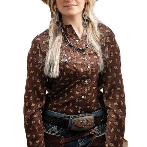 Cruel Girl Brown Cowboy Hat Print Long Sleeve Women's Snap Shirt