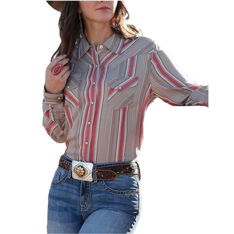 Cruel Girl Grey Pink Stripe 2 Pocket Women's Snap Shirt