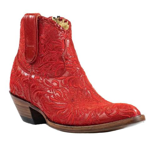 Azulado Mila Red Embroidered Women's Shortie Boots