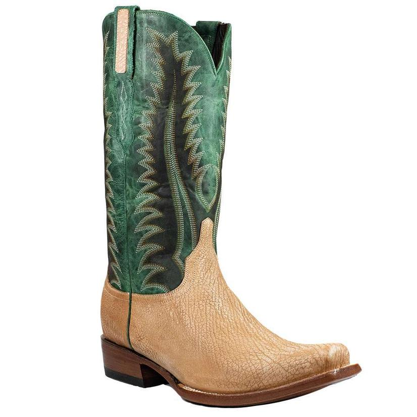 Azulado Rip Sanded Shark With Green Top Men's Boots