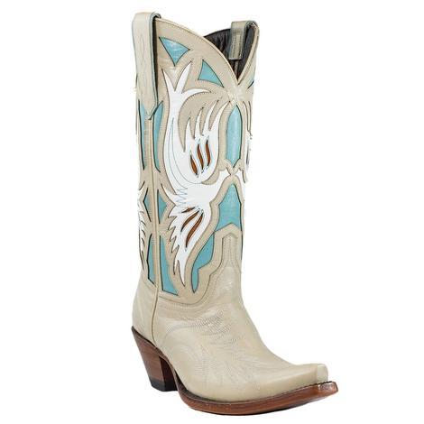 Azulado Sam Bone and Aqua Calf Women's Boots