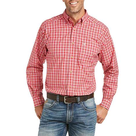 Ariat Barth Red Plaid Fitted Long Sleeve Buttondown Men's Shirt