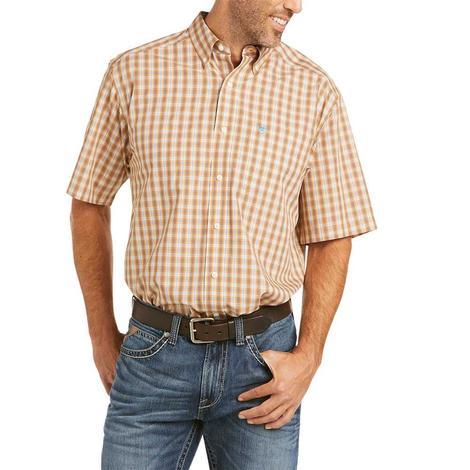 Ariat Wrinkle Free Gerald Gold Plaid Short Sleeve Buttondown Men's Shirt