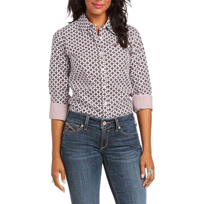 Ariat Kirby Stretch White Red Print Long Sleeve Buttondown Women's Shirt