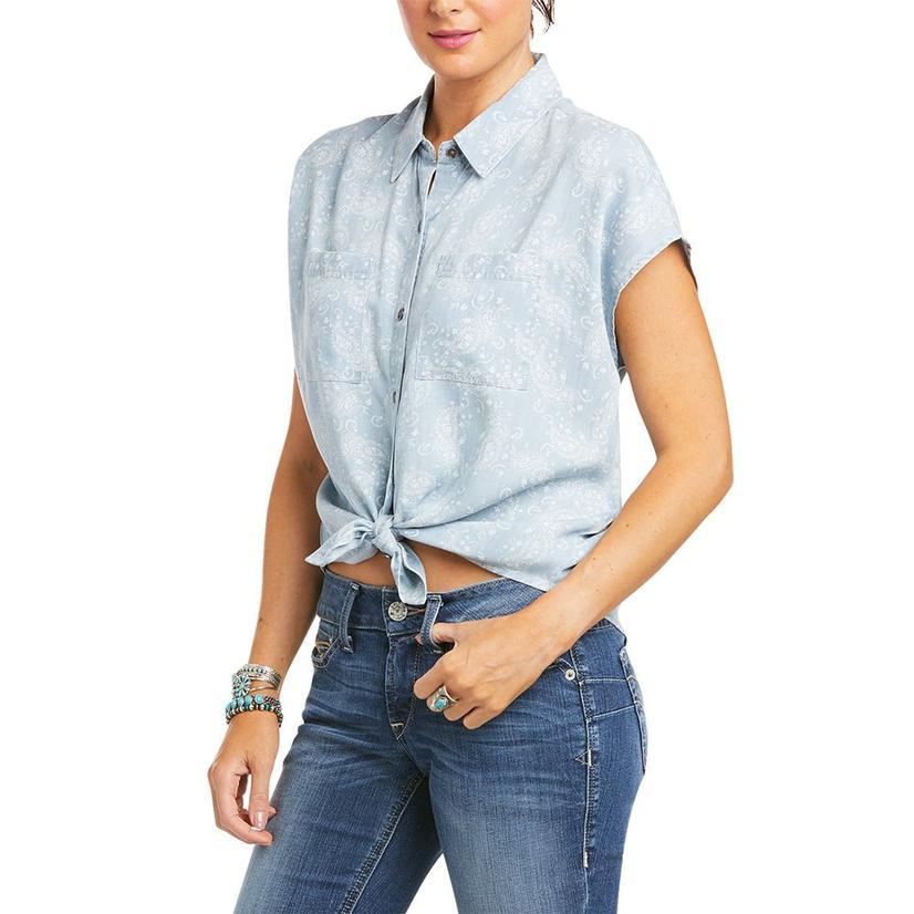 Ariat Ocean Side Faded Denim Print Women's Shirt