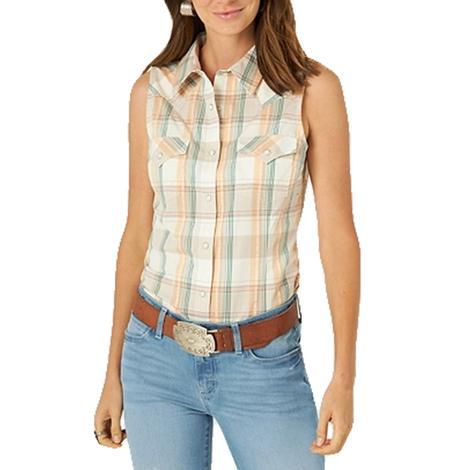 Wrangler Sleeveless Plaid Western Snap Shirt for Women