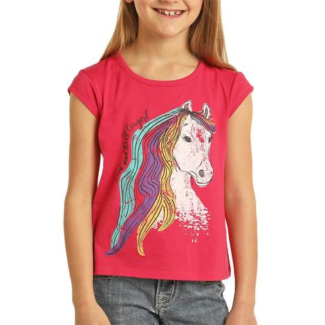 Rock and Roll Cowgirl Hot Pink Horse Graphic Girl's Tee