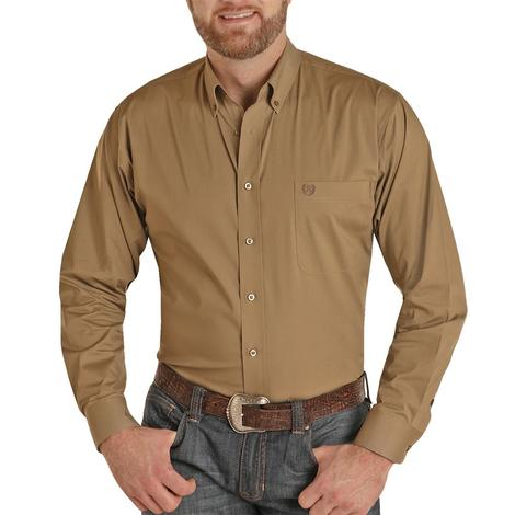 Panhandle Solid Taupe Long Sleeve Buttondown Shirt