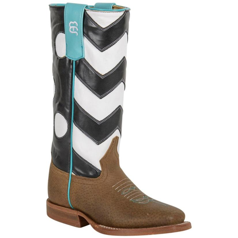Anderson Bean Black And White Chevron Polka Dots Kid Boot