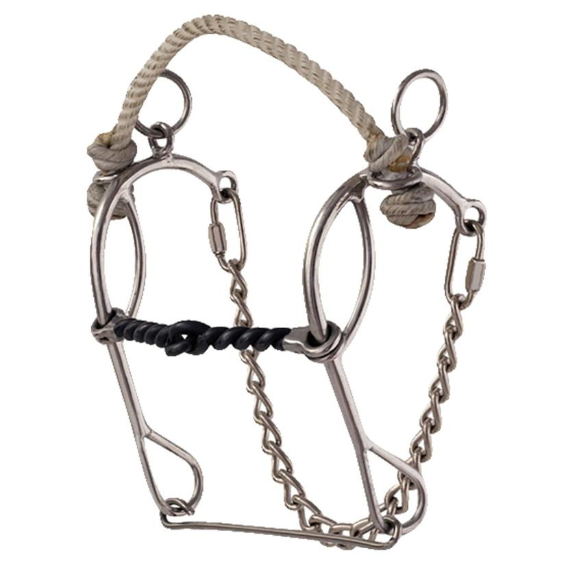American Heritage Equine Rope Noseband Combo Sweet Iron Twisted Wire Bit