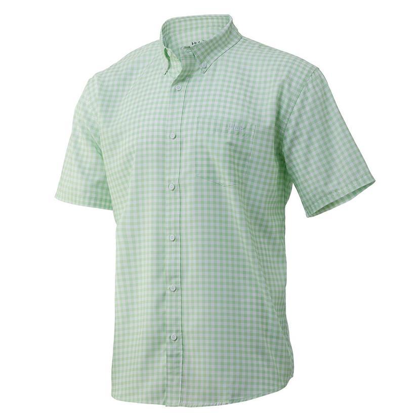 Huk Teaser Gingham Key Lime Short Sleeve Buttondown Men's Shirt