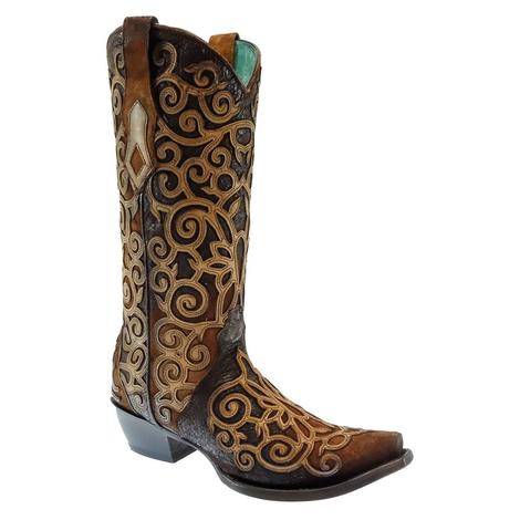 Corral Chocolate Lamb Embroidered Overlay Women's Boots