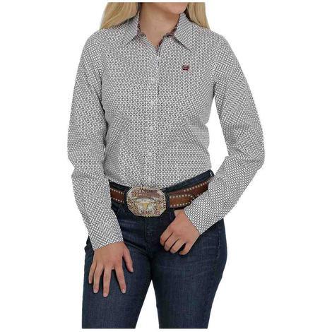 Cinch Cream Burgundy Print Long Sleeve Buttondown Women's Shirt