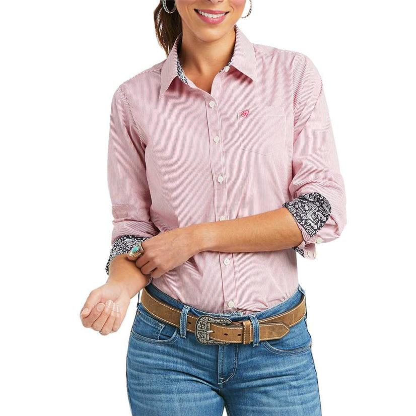 Ariat Kirby Stretch Pink Stripe Long Sleeve Buttondown Women's Shirt