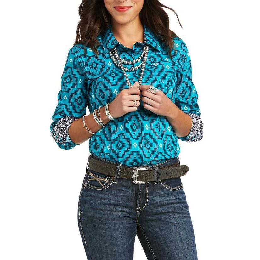Ariat Kirby Stretch Blue Print Long Sleeve Buttondown Women's Shirt