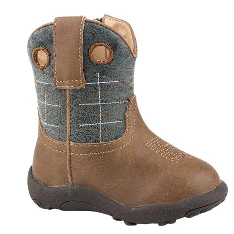 Roper Cowbaby Wild Bill Brown Blue Infant Boots