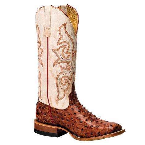 Horse Power Cognac Full Quill Ostrich Men's Boots