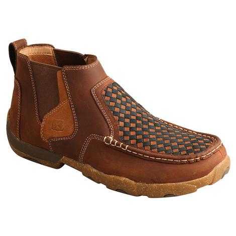 Twisted X Checkered Leather Slip On Men's Driving Moc