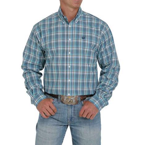 Cinch Blue Plaid Long Sleeve Buttondown Men's Shirt - Extended Sizes
