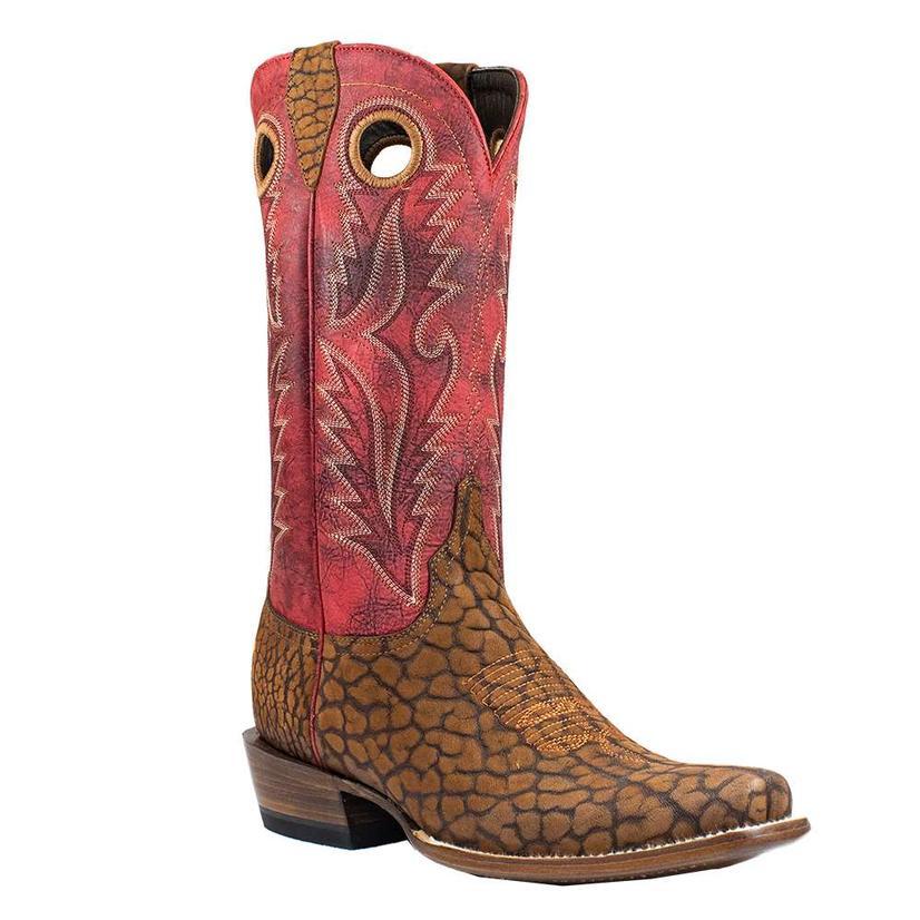Azulado Joaquin Rust Suede Bull Shoulder Red Top Cutter Toe Men's Boots