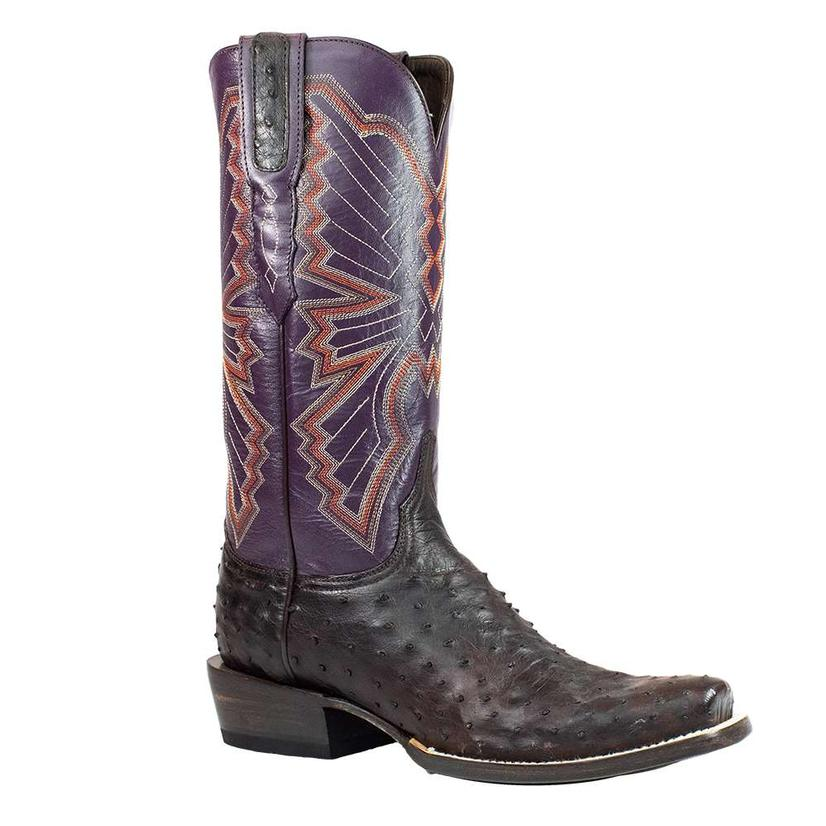 Azulado Jake Chocolate Full Quill Ostrich With Purple Top Cutter Toe Men's Boots