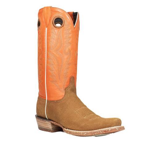 Azulado Shane Cognac Orange Top Cutter Toe Men's Boots