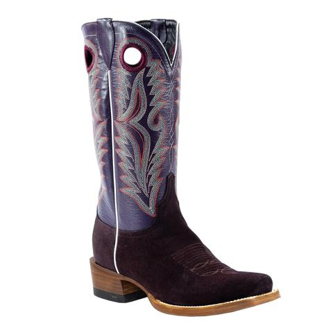 Azulado Shane Chocolate Suede Roughout Purple Top Cutter Toe Men's Boots
