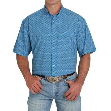 Cinch Arenaflex Blue Print Short Sleeve Buttondown Men's Shirt