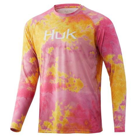 HUK Pursuit Tie Dye Pink Lady Long Sleeve Men's Shirt
