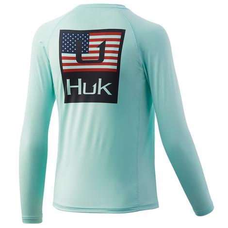 HUK Huk'd Up Americana Pursuit Long Sleeve Seafoam Youth Shirt