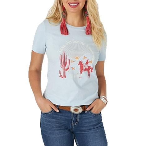 Wrangler Baby Blue Scenic Route Wome's Tee