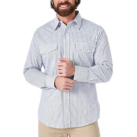 Wrangler Blue White Stripe Wrinkle Resistant Long Sleeve Snap Men's Shirt - Extended Sizes