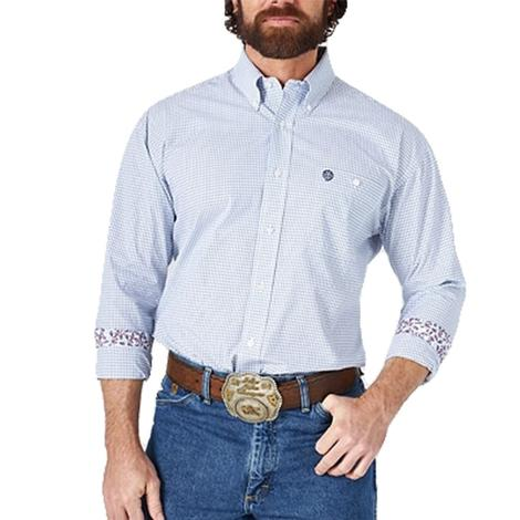 Wrangler George Strait Navy White Long Sleeve Buttondwon Men's Shirt