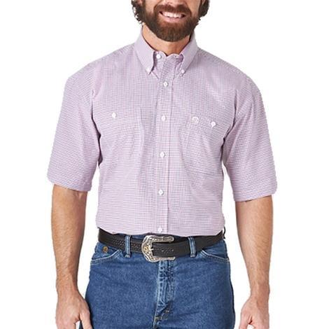Wrangler Red Plaid Short Sleeve Buttondown Men's Shirt