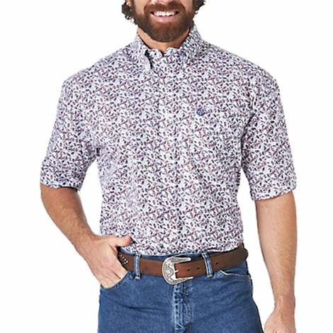 Wrangler George Strait White Blue Print Short Sleeve Buttondown Men's Shirt