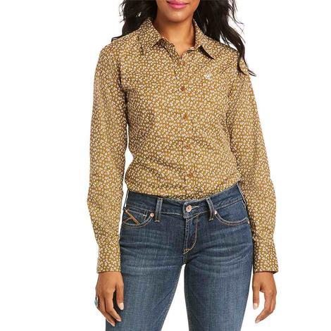 Ariat Kirby Stretch Brown Floral Print Long Sleeve Buttondown Women's Shirt