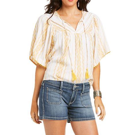 Ariat Reed White Gold Print Flutter Sleeve Women's Shirt