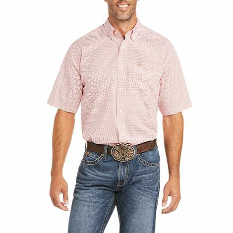 Ariat Finks White Red Print Short Sleeve Buttondown Men's Shirt