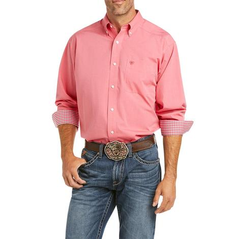 Ariat Wrinkle Free Solid Pinoint Oxford Long Sleeve Buttondown Men's Shirt